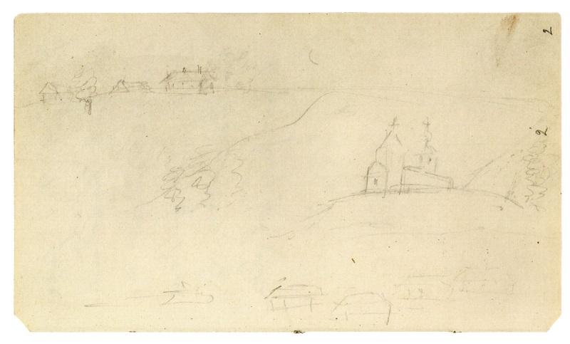А.С. Пушкин. Рисунок Симбирской горы